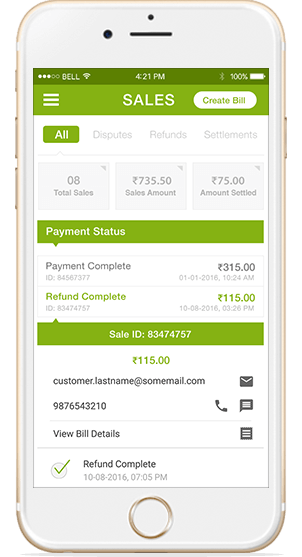 Mobile payments dashboard